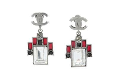 Lot 81 - Chanel CC Logo Geometric Clip On Earrings