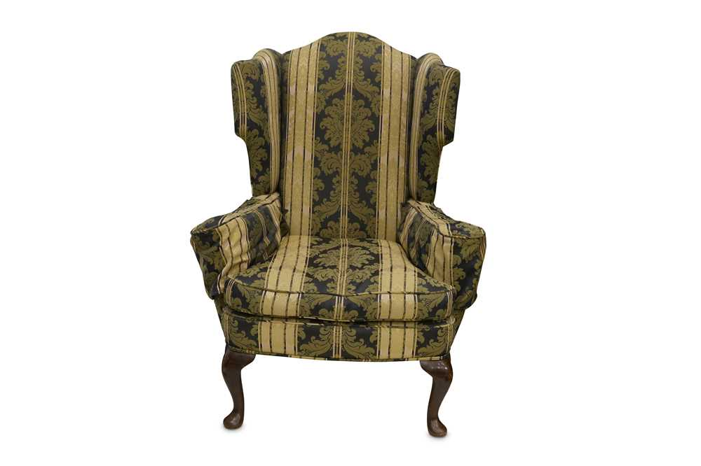 Lot 36 - A WING BACK ARMCHAIR, LATE 19TH CENTURY