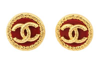 Lot 24 - Chanel Red CC Logo Pierced Earrings