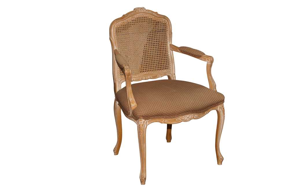 Lot 6 - A FRENCH LOUIS XV STYLE LIMED BEECH FAUTEUIL, LATE 20TH CENTURY