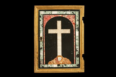 Lot 17 - A 17TH CENTURY PIETRE DURE PANEL OF A CROSS WITH SKULL SET IN A TABERNACLE DOOR