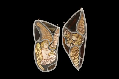 Lot 18 - TWO ENGLISH MID 15TH CENTURY STYLE STAINED GLASS PANELS OF ANGELS