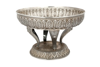 Lot 218 - A LARGE THAI SILVER REPOUSSÉ CEREMONIAL TRAY OR BASIN (TOK)