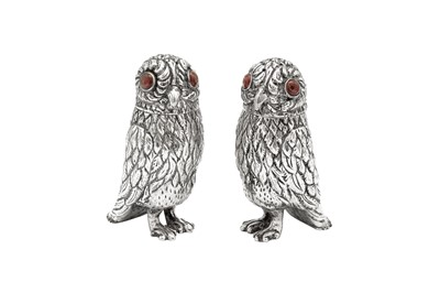 Lot 93 - A pair of early 20th century unmarked silver novelty owl pepper pots, German or Dutch circa 1910