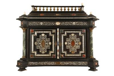 Lot 38 - A 19TH CENTURY ITALIAN EBONISED, HARDSTONE AND IVORY INLAID TABLE CABINET