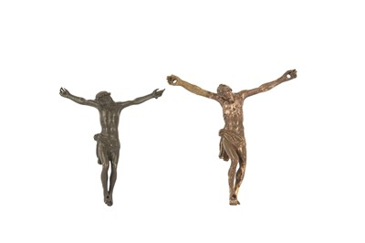 Lot 47 - AN 18TH / 19TH CENTURY BRONZE CORPUS CHRISTI TOGETHER WITH ANOTHER