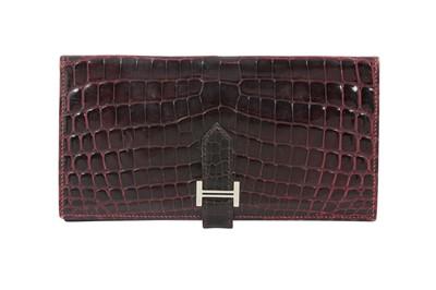 Lot 55 - Hermes Bourgogne Shiny Niloticus Crocodile Bearn Wallet