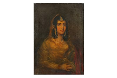 Lot 222 - A SEATED PORTRAIT OF A YOUNG LADY OF TITLE WEARING TRADITIONAL INDIAN JEWELS