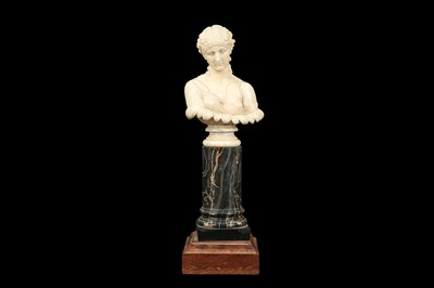 Lot 3 - A 19TH CENTURY DIEPPE IVORY BUST OF CLYTIE, AFTER THE ANTIQUE