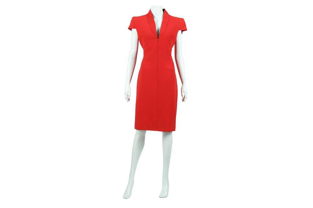 Lot 14 - Alexander McQueen Red Crepe Zip Front Dress - Size 44