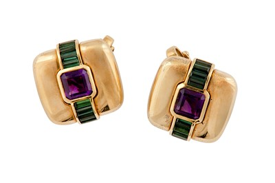Lot 42 - A pair of amethyst and green tourmaline earclips