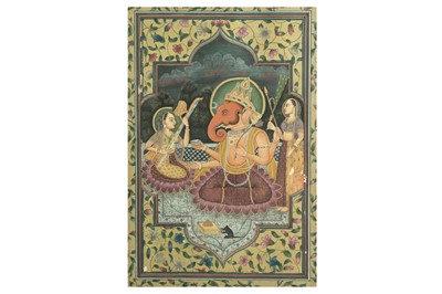 Lot 224 - LORD GANESHA WITH CONSORTS RIDDHI AND SIDDHI