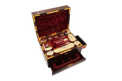 Lot 74 - A Victorian sterling silver gilt fitted coromandel ladies travelling vanity case, London 1866 by Wright & Davies