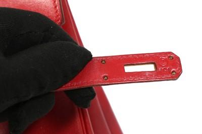 Lot 1 - Hermes Rouge Vif Box HAC Birkin 32