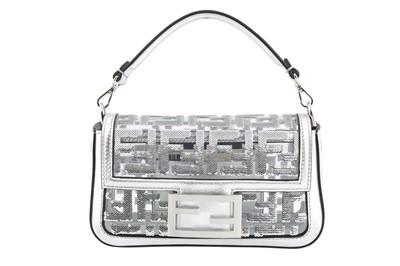 Lot 451 - Fendi Silver PVC Transparent Sequin Mini Baguette Bag