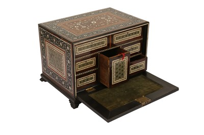 Lot 40 - A 16TH / 17TH CENTURY AND LATER INDO-PORTUGUESE IVORY AND MICROMOSAIC INLAID TABLE CABINET