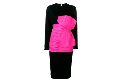 Lot 50 - Angelo Tarlazzi Black Statement Bow Dress - Size 38