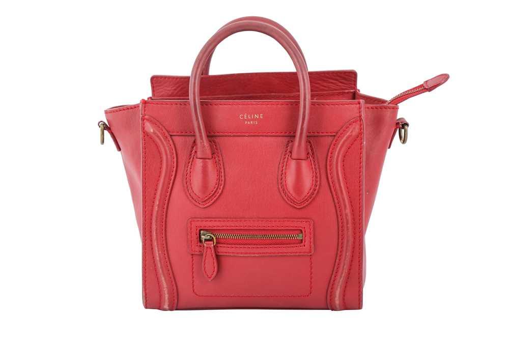 Lot 9 - Celine Red Nano Luggage Bag