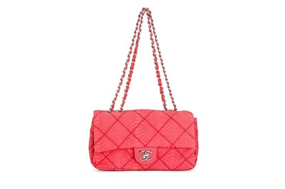 Lot 6 - Chanel Red Python 2.55 Flap Bag