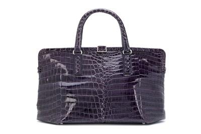 Lot 65 - Bottega Veneta Purple Crocodile Framed Top Handle Bag
