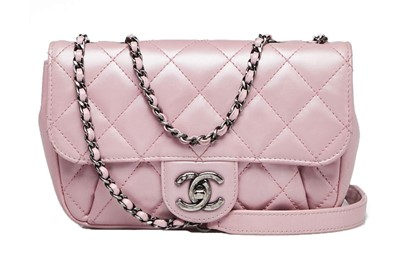 Lot 28 - Chanel Metallic Pink Mini Crossbody Flap Bag