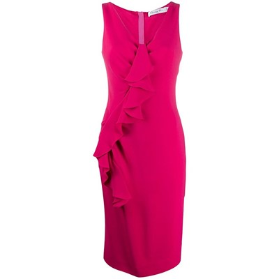 Lot 48 - Christian Dior Hot Pink Frill Front Midi Dress - Size 40