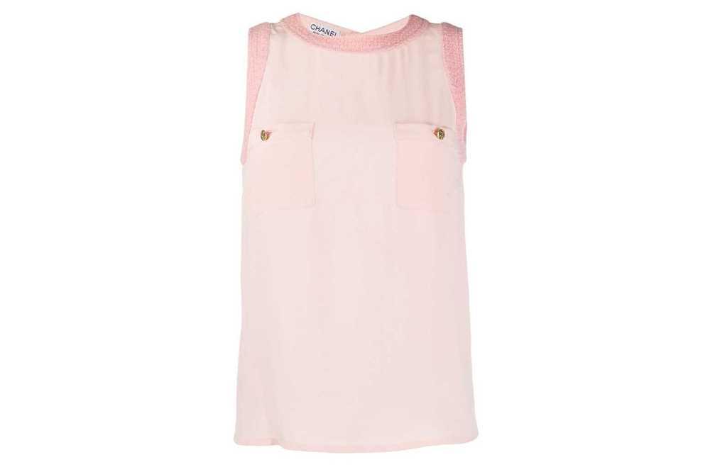 Lot 33 - Chanel Baby Pink Silk Sleeveless Shell Top