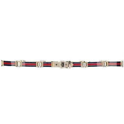Lot 27 - Gucci Red And Blue Enamel Link Belt