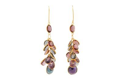 Lot 89 - A pair of gem-set earrings