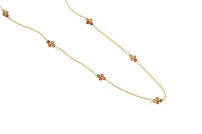 Lot 25 - A multi-coloured sapphire necklace