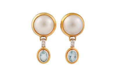 Lot 38 - A pair of mabé pearl, diamond and aquamarine earrings