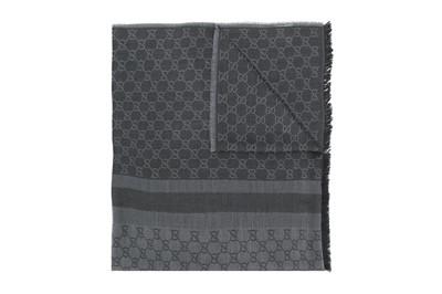 Lot 86 - Gucci Dark Grey Monogram Jacquard Long Scarf