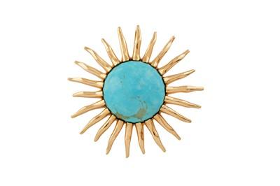 Lot 82 - A turquoise sunburst pendant