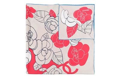 Lot 53 - Chanel CC Camillia Print Silk Scarf