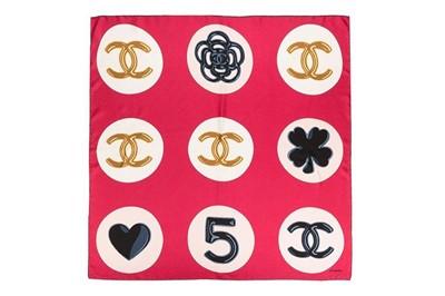 Lot 19 - Chanel CC Circle Print Silk Scarf