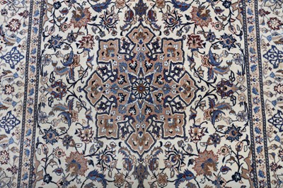 Lot 13 - AN EXTREMELY FINE PART SILK NAIN RUG, CENTRAL PERSIA