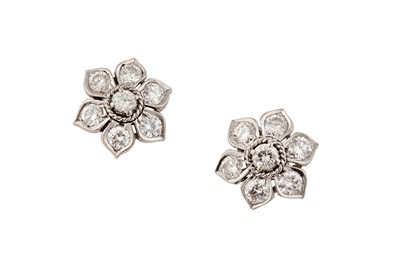 Lot 50 - A pair of floral diamond earstuds