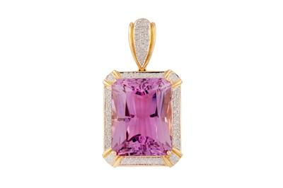 Lot 44 - A kunzite and diamond pendant