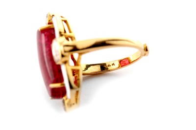 Lot 19 - A spinel, enamel and diamond dress ring
