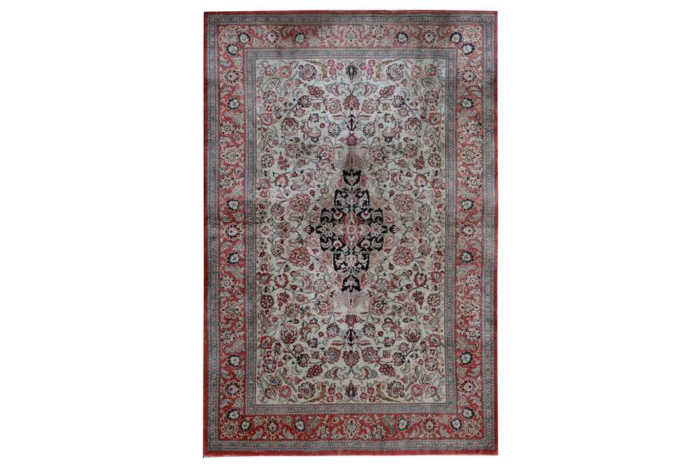 Lot 9 - AN EXTREMELY FINE SILK QUM RUG, CENTRAL PERSIA