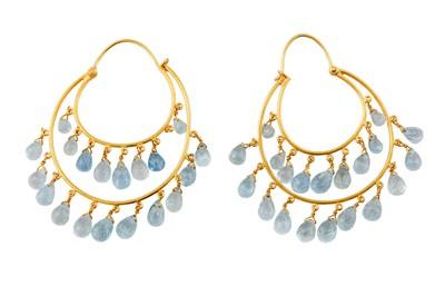 Lot 77 - A pair of blue topaz earrings