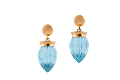 Lot 84 - A pair of blue topaz earrings