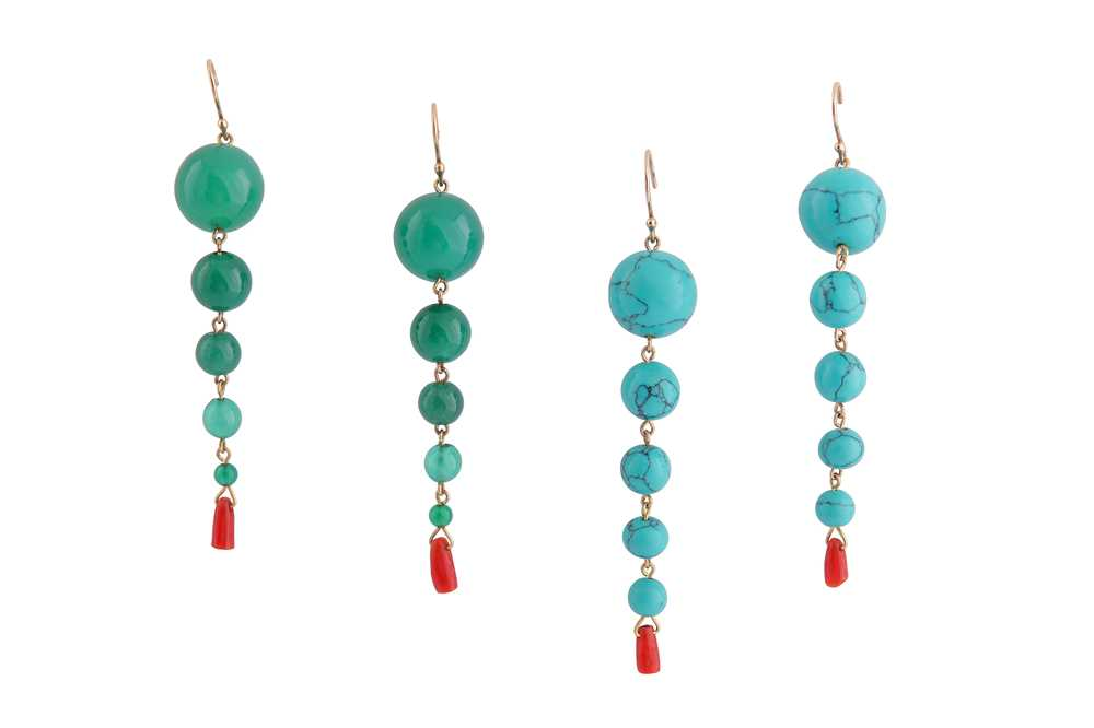 Lot 19 - λ TWO PAIRS OF PENDENT EARRINGS