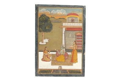 Lot 389 - KRISHNA WITH RADHA AND AN ATTENDANT AT SUNSET