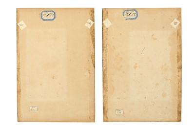 Lot 344 - A PAIR OF QAJAR MURAQQA' ALBUM PAGES WITH STUDIES OF GOL-O-BOLBOL MOTIFS