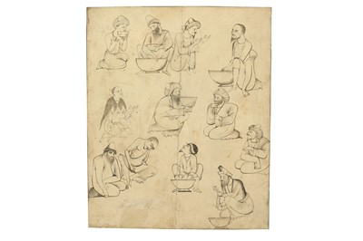 Lot 381 - A STUDY OF SEATED DERVISHES PREPARING FOOD