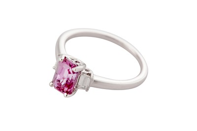 Lot 12 - A pink sapphire and diamond ring