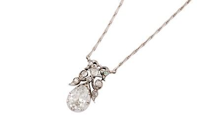 Lot 55 - A diamond pendant necklace, late 19th century