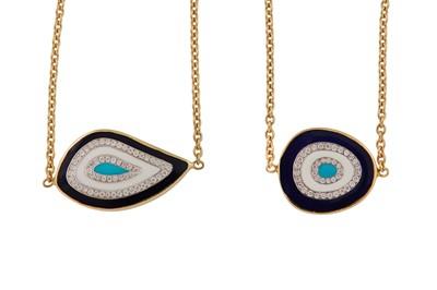 Lot 76 - Gilan | A pair of enamel and diamond 'Nazar' bracelets