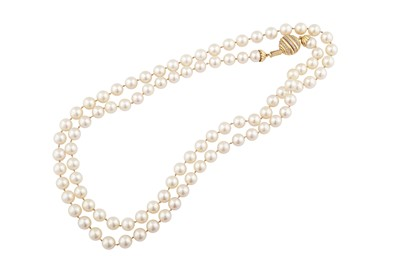 Lot 49 - Chaumet | A cultured pearl and diamond necklace, 1984